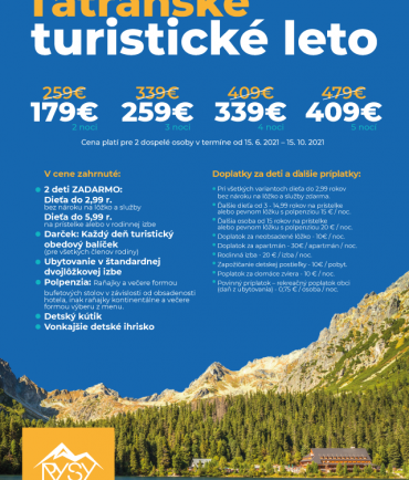 Tourist summer in High Tatras (15.6.- 15.10.2021)